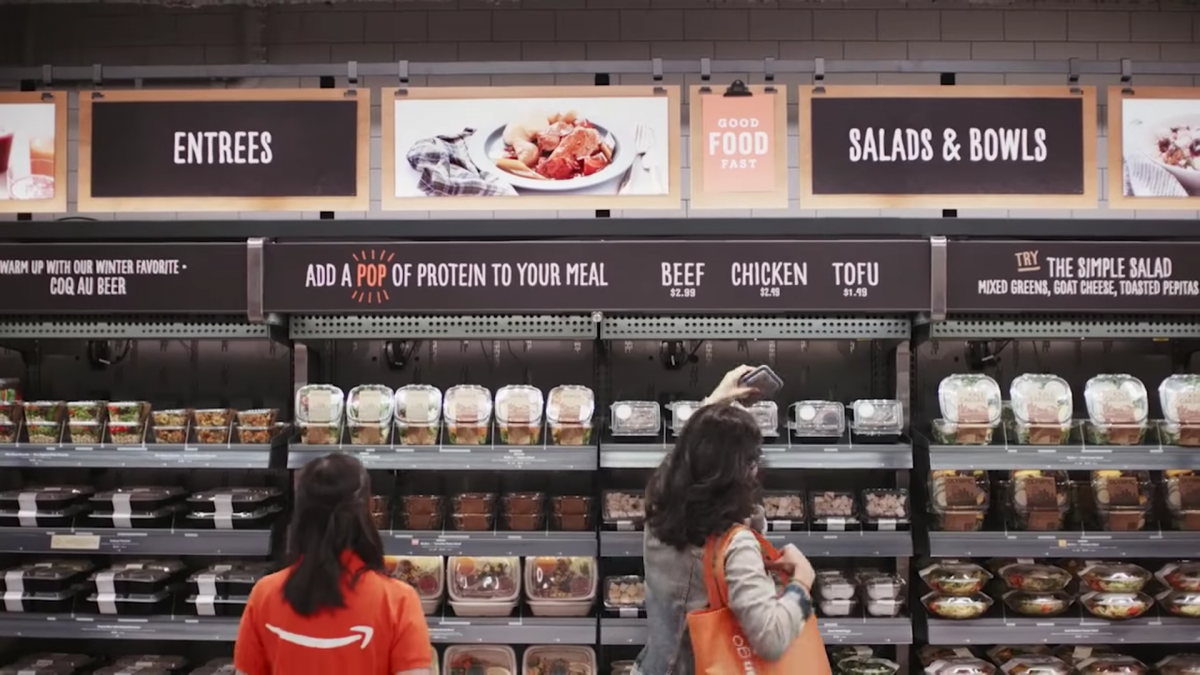Amazon Go sells prepared foods and other grocery staples.